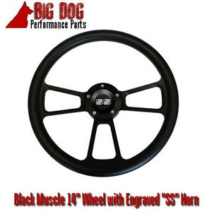 14 Black Steering Wheel W Black Chevy ss Engraved Horn Button Free Shipping