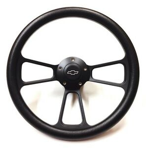 Corvette 14 Black Billet Steering Wheel Inludes Adapter Chevy Horn 1968 1982