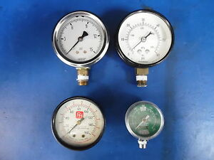 Lot Of 4 Pneumatic Psi Gauges Wika Marsh Parker Hannifin