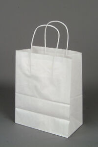 Paper Shopping Bags With Handles 250pcs Size 8x4x10 White Free Shipping
