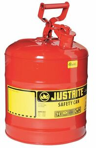Justrite 7150100 Type I Galvanized Steel Safety Can Red 5 Gallon Capacity