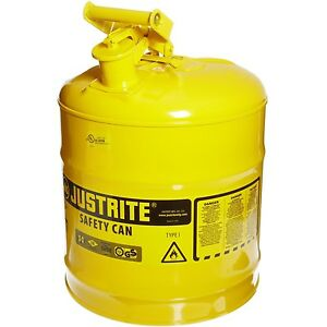 Justrite 7150200 Type I Galvanized Steel Safety Can Yellow 5 Gallon Capacity