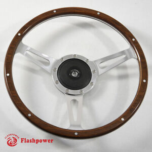 Classic Riveted Wood Grain Steering Wheel Ford Mustang Shelby Ac Cobra Mg Mgb