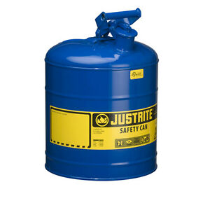 Justrite 7150300 Type I Galvanized Steel Safety Can Blue 5 Gallon Capacity