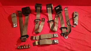 90 92 Ford Fox Body Mustang Seat Belt Set Titanium Gray Coupe Notch Lx 87 93