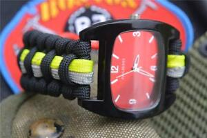 Extreme Black Firefighter Fire Rescue Bunker Turnout Gear 550 Paracord Watch
