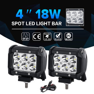 2x 4inch 18w Cree Led Work Light Bar Spot Flood Offroad Ute Car Boat Driving 30w