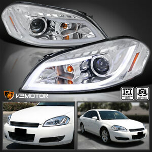 Fit 2006 2013 Chevy Impala Clear Led Bar Projector Headlights signal Lamps Pair