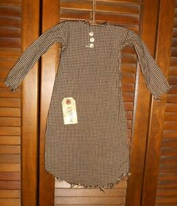 Prim Wall Dress W Hanger Primitive Decor Black Check Nightshirt Halloween Fall