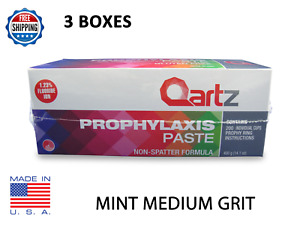 Qartz Prophy Paste Cups Mint Medium Grit 200 box Dental W fluoride 3 Boxes