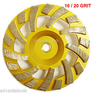 7 Diamond Cup Grinding Wheel 16 20 Grit For Concrete Epoxy Removal 7 8 5 8