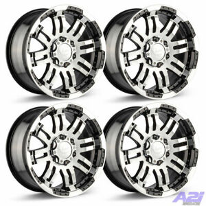 Set 4 17 Vision 375 Warrior Black Machined Rims 17x8 5 8x6 5 Chevy Gmc 8 Lug