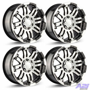 Set 4 16 Vision 375 Warrior Black Machined Rims16x8 8x6 5 6mm Chevy Gmc 8 Lug