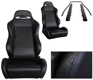 New 1 Pair Black Leather Blue Stitch Racing Seats All Ford
