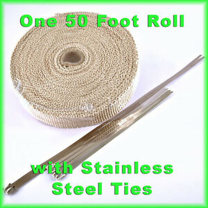 Tan Exhaust Wrap Header Pipe Insulation Tape 1 Inch X 50 Feet W Stainless Ties