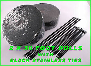 Black Heat Shield Exhaust Wrap Tape 2 two Rolls 2 X 50 Feet Black Lock Ties