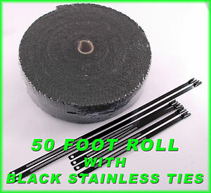 Black 4 Cylinder Exhaust Wrap Kit Thick 1 8 X 2 X 50 Roll Black Ss Lock Ties