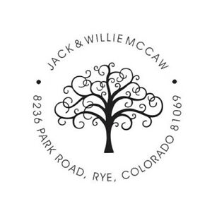 Custom Round Return Home Address Tree With Leaves Self Inking Rubber Stamp