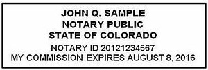 Colorado Custom Pre inked Official Notary Seal Rubber Stamp Office Use