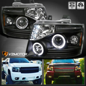 For 2007 2014 Chevy Tahoe Avalanche Suburban Black Led Halo Projector Headlights