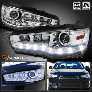 Fits 2008 2015 Mitsubishi Lancer Evo X 10 Led Projector Headlights Left Right