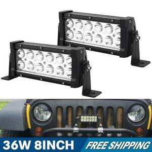 2x 36w 8inch Spot Led Work Light Bar Driving Lamp 4wd Suv Truck Ute Offroad Atv