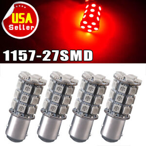 4x Pure Red 1157 Bay15d 5050 27 Smd Brake Stop Tail Led Light 7528 2057 1157a