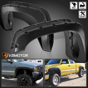 99 06 Chevy Silverado Gmc Sierra Pocket Style Black Bolt On Rivet Fender Flares