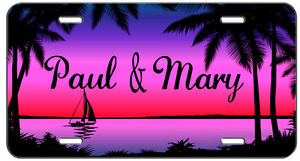 Custom Personalized License Plate Sunset Sail Auto Tag