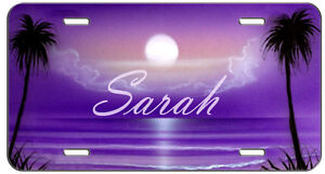 Custom Personalized Vanity License Plate Purple Beach Night Auto Tag