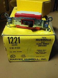 Hubbell 1221 Toggle Switches 20 Amp Single Pole Box Of 10