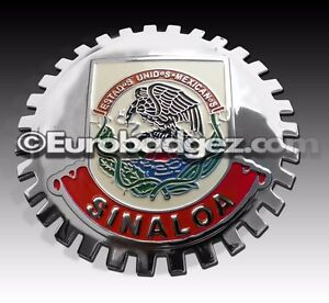 1 New Chrome Front Grill Badge Mexican Flag Spanish Mexico Medallion Sinaloa