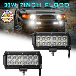2pcs 36w 7 Flood Beam Led Work Light Bar Off Road 4wd Suv Ute Truck Boat