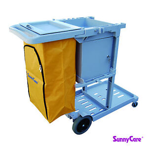 Sunnycare New Gray Plastic Janitorial Cleaning Cart With 25 Gallon Bag