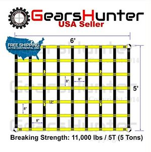 5 x6 2 Strap Heavy Duty Trailer Pickup Truck Bed Cargo Net Cover 4 Metal Rings