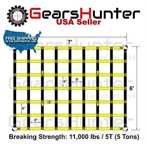 6 x7 2 Strap Heavy Duty Trailer Pickup Truck Bed Cargo Net Cover 4 Metal Rings