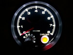 3 3 4 Tachometer Black With Black Face 0 8 000 Rpm Red Shift Light