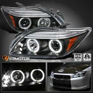 For 2005 2010 Scion Tc Led Strip Halo Projector Headlights Black Lamp Left Right