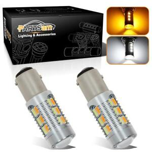 2x 1157 2057 7528 22 5730 Smd Led Turn Signal Amber White Switchback Light Bulbs