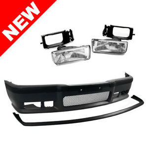 Bmw E36 3 Series 92 98 M3 Style Front Bumper Cover Lip Clear Fog Lights
