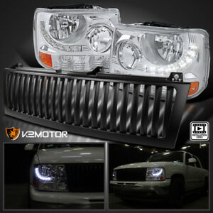 99 02 Chevy Silverado 1500 2500 Led Chrome Headlights Bumper Lamp Black Grille