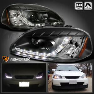 For 1996 1998 Honda Civic Black Led Drl Strip Projector Headlights Left Right