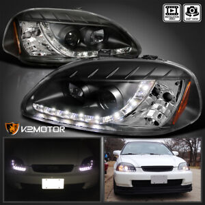 For 1996 1998 Honda Civic R8 Led Daytime Running Lamp Projector Headlights Black