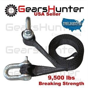 Two 4 3 4 Tons 4 75 T Shackles 12 Web Tow Strap Clevis 9500lbs