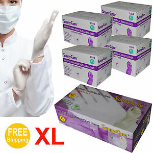 4000 4cs White Synthetic Vinyl Medical Exam Gloves latex Nitrile Free X large
