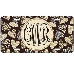 Personalized Monogrammed Car Tag License Plate Leopard Cheetah Zebra Hearts