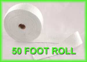 Exhaust Pipe Heat Header Wrap Insulation Thermal Tape Roll 2 X 50 Feet White