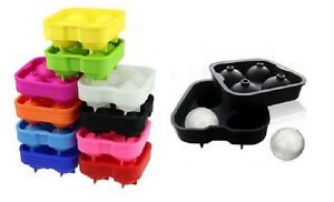 4 Balls Whiskey Ice Cube Maker Mold Sphere Mould Party Tray Round Bar Silicone