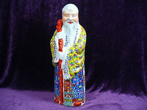 Chinese Famille Rose Shoulao Porcelain Statue 17 Marked