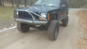 Front Bumper W Winch Mount With Pre Runner Bar Fits Jeep Cherokee Xj Mj 84 01